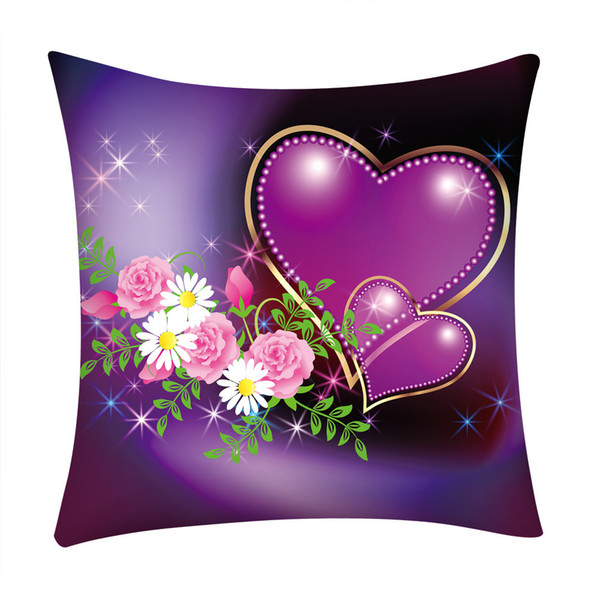 """45x45cm Print Pillow Case Polyester pillow Cover Home heart rose """"love"""" pattern #25"""