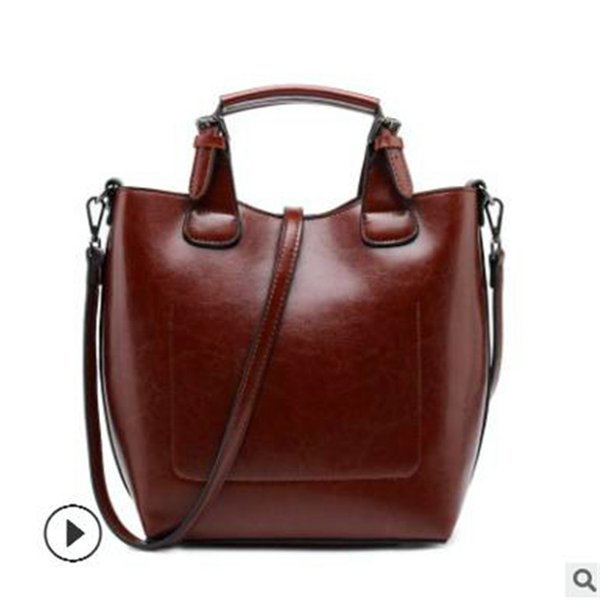 Lady Handbags New Pattern Genuine Leather Female Bucket 2018 Personality Cowhide Portable Package Major Suit With Paragraph