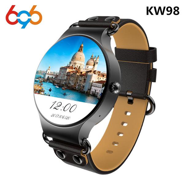 696 El más nuevo KW98 Smart Watch Android 5.1 3G WIFI GPS Reloj MTK6580 Smartwatch Play Store Descargar APP para iOS Teléfono Android