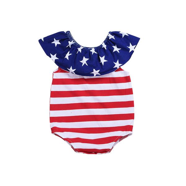 Baby Girls Star Stripe Romper Independence Day Infant Boys Jumpsuit american flag Printed Toddler Sleeveless Onesie Y2249