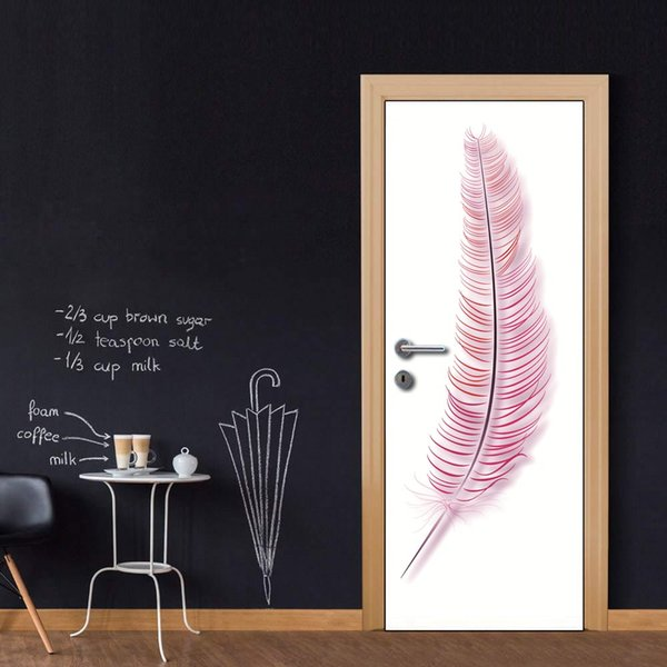 Door Wall Mural Wallpaper Art Pink Feather Forest Stream Vinyl Removable Decals For Home Room Decoration Wall Decals Home Wall Decals Home Decor From