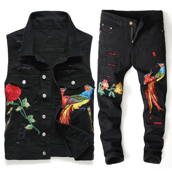 New Men Black Sets Fashion Spring Embroidered Phoenix Flower Hole Distressed Suit Denim Vests +Pants Mens Clothing 2 Pieces Sets