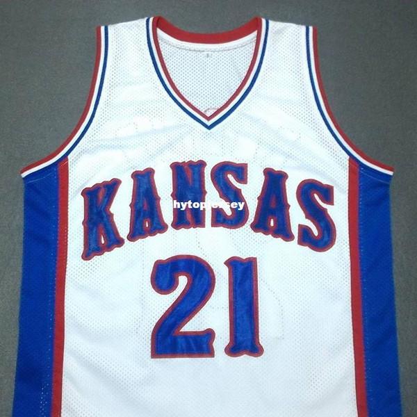 Cheap custom JOEL EMBIID Kansas Jayhawks Blue Basketball Jersey Embroidery Stitched Customize any size and name NCAA