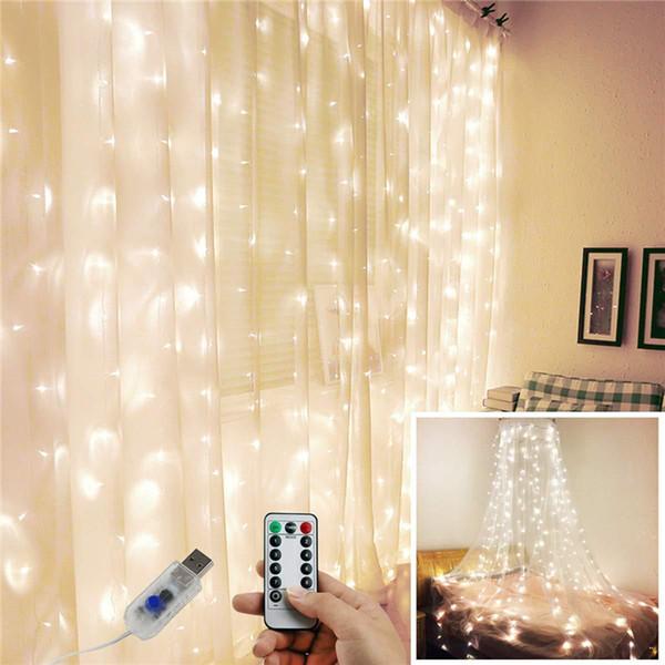 Hot 2019USB Fernbedienung 3 * 3 Kupferdraht Vorhang Lampe Fern im Freien Kranz Lampe Weihnachten Lampe Dekoration steuern T3I5522