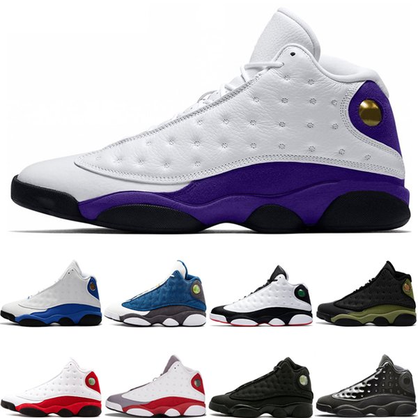 Yeni Gelmesi Lakers Rakipleri 13 13 s Tasarımcı Basketbol Ayakkabı Kap Ve Kıyafeti Chicago Black Cat Flints Bred DMP Mens Spor Sneakers boyut 7-13