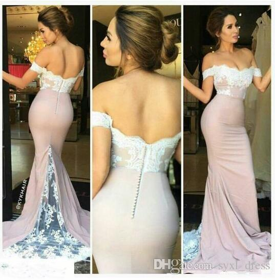2019 Cheap Mermaid Bridesmaid Dresses Prom Wear Wedding Guest Dress Off Shoulder Lace Applique Covered Button Back Pink Skirt White Lace