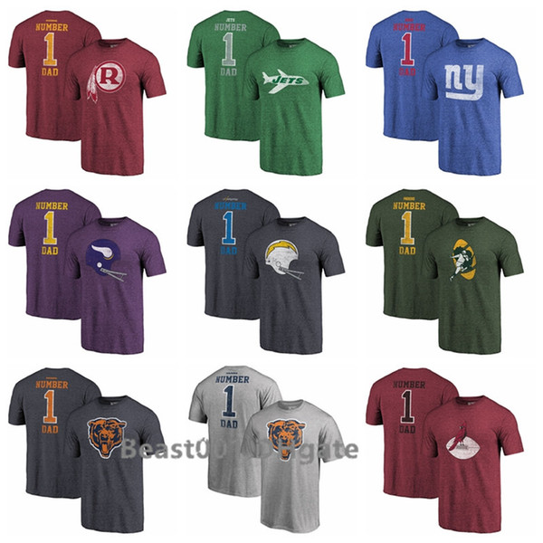 Pro Line por Branded Redskins Jets Gigantes Vikingos Cargadores Osos Heathered Bigand Tall Greatest Dad Retro Tri-Blend camiseta