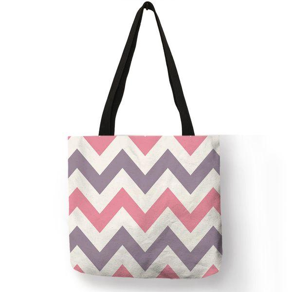 Ladies Daily Totes Bag Multi Color Stripe Wave Fold Linen Large Capacity Female Shoulder Bag Girls Casual Shopping Beach Handbag