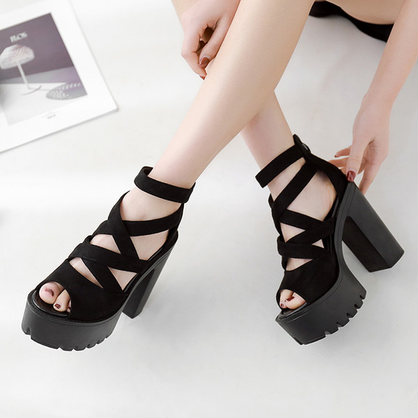 female sandals Style Block Heels Women Spring Summer Flock Ladies Sandals Platform Black Female Footwear Summer women high sandals YMA716