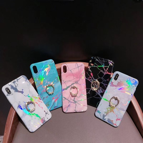 Soft TPU Marble Kickstand phone cases for iPhone 11 pro max XS MAX XR samsung S10 note 10 Laser Stone cellphone cover with Ring Holder