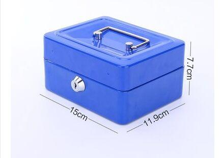 15*11.9*7.7cm Mini Safe Deposit Box Multi Function Separate Metal Storage Boxes Portable Belt Handle High Capacity Case