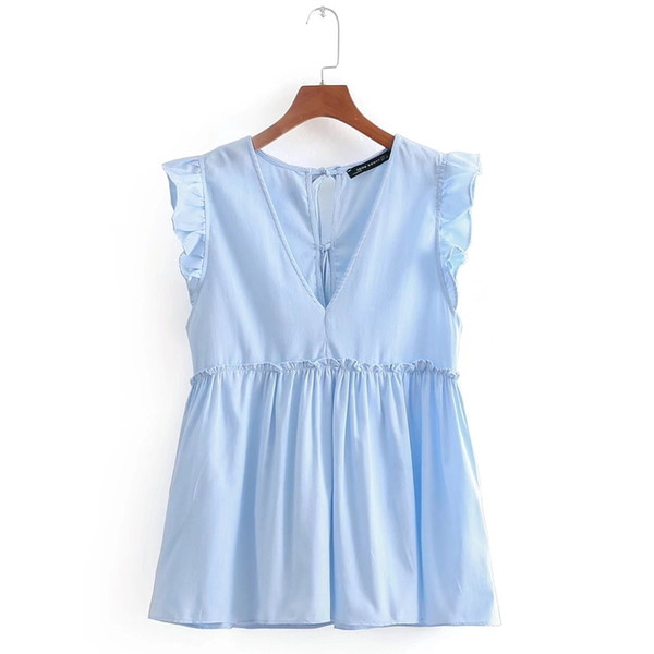 Women Sweet V Neck Sleeveless Ruffles Pleated Casual Blouse Elegant Agaric Lace Shirt Blusas Back Bow Tied Brand Tops Ls2208 Y190518