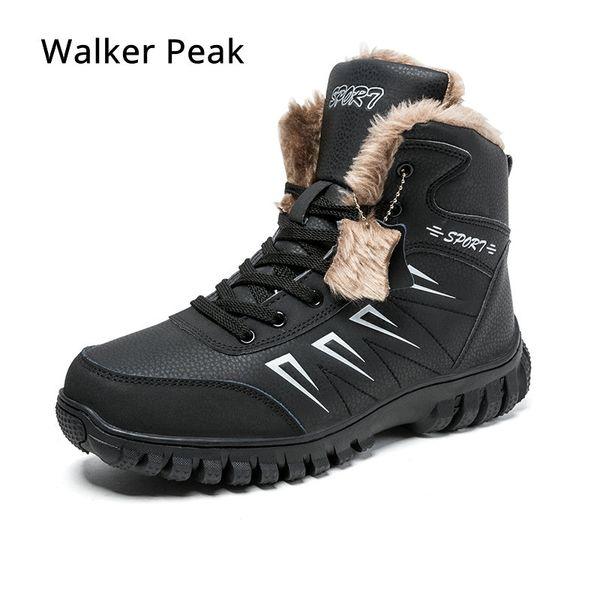 Botas para hombre de invierno con piel 2019 Botas para la nieve del tobillo caliente para los hombres Zapatos de cuero genuinos Calzado masculino Moda caucho Walker Peak