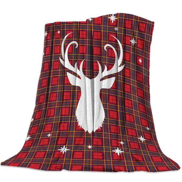 Throw Blanket Christmas Throw Blanket Red Plaid And Elk Warm Microfiber Blanket Bedclothes