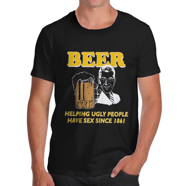 Twisted Envy Men's Beer Helping Ugly People Funny T-Shirt jersey Print t-shirt