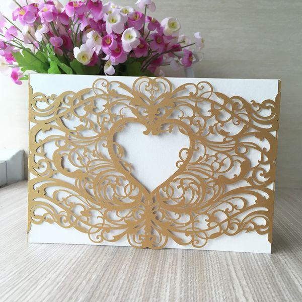 30Pcs /lot Luxury Wedding Invitation Card Various Envelope Hollow Laser Cut Back To School Graduation Ceremony Festival Invitations Cards
