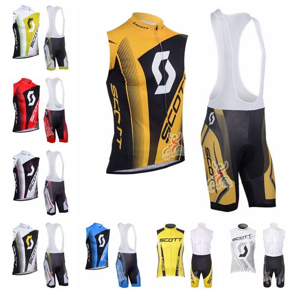 SCOTT equipe Ciclismo Sem Mangas jersey Vest conjuntos de bermudas Respirável tendência de secagem Rápida venda quente X70142