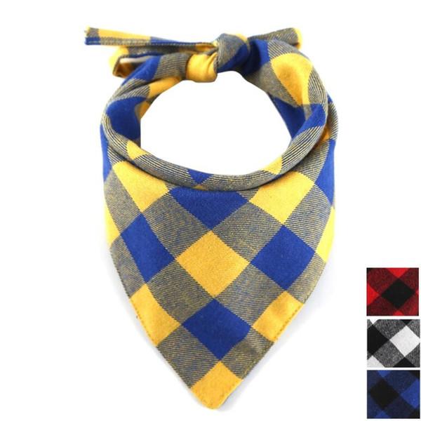 Bestseller pet Speichel Handtuch Dreieck Handtuch Baumwolle Hund mit Gitter Dreieck Schal Heimtierbedarf Speichel Handtuch zwei eine Packung
