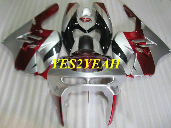 Kit de cuerpo de carenado de motocicleta para KAWASAKI Ninja ZX9R 94 95 96 97 ZX 9R ZX-9R 1994 1997 Rojo Carenados de plata Carrocerías + regalos KG30