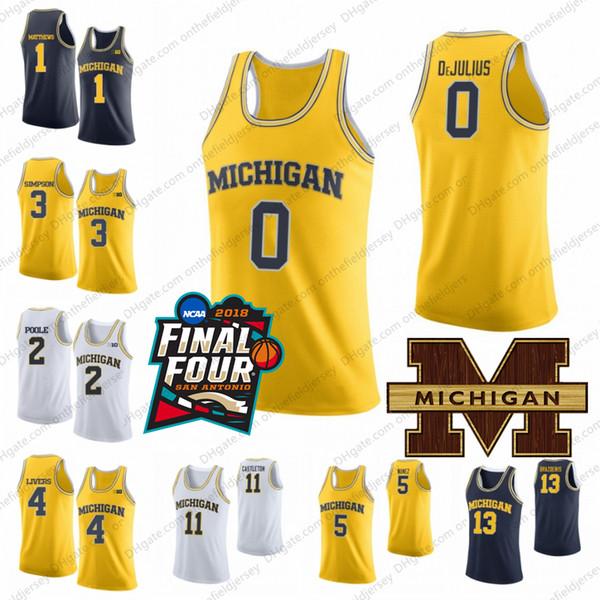 2019 Michigan Wolverines College Basketball Jersey 0 David DeJulius 3 Zavier Simpson 4 Isaiah Livers 5 Adrien Nunez 11 Colin Castleton S-3XL