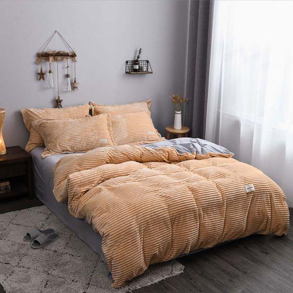 18008 European magic velvet 4pcs/set double-faced velvet bedding set crystal velvet sheets quilt cover warm winter home textile bed linen