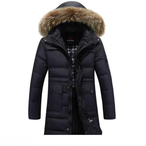 Man Thickening Coat Down & Parkas Wholesale Outdoor Clothing in the long thick male real fur collar size winter coat for Dad
