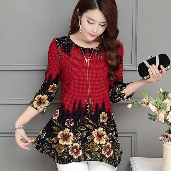 Donna Top Camicetta donna nuove donne di modo camicetta Maglietta extrasize 4XL chiffon rosso stampa floreale femminile Tops Blusas 993D 30