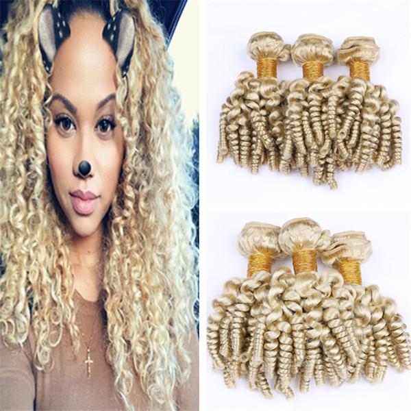 613 Blonde Aunty Funmi Curly Human Hair Weave 3 Bundles Platinum Blonde Bouncy Curly Hair Wefts Romance Spiral Curls Virgin Hair Extensions
