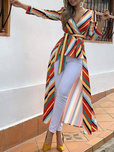 Женская мода Элегантная офисная рабочая одежда Асимметричная длинная блузка Женский Повседневный топ в полоску с завязками спереди Подол Рубашка
