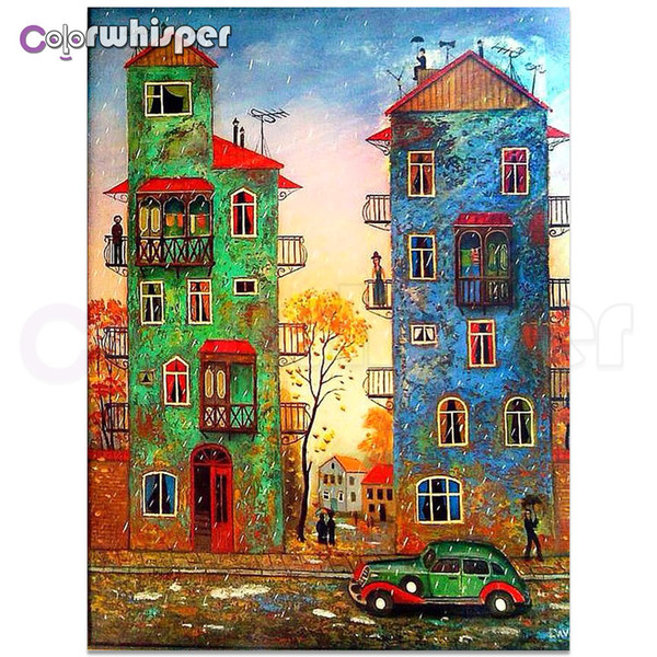 Daimond Painting Full Square/ Round House Building Colorful Picture Diamond Painting Rhinestone Crystal Cross Stitch Mosaic Z017