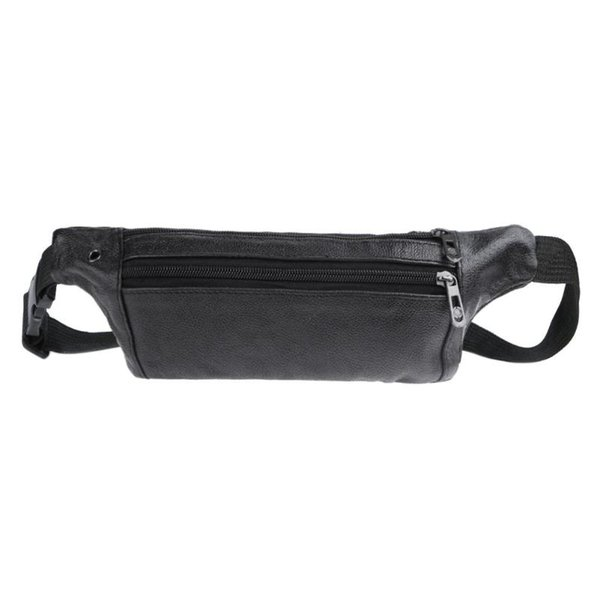 Classic Men Sports Waist Packs Messenger Bag for Male PU Leather Shoulder Crossbody Bags Zipper Solid Sling Hand Running Bag