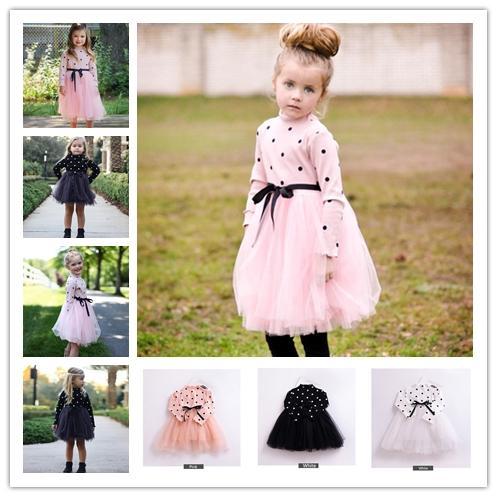 3 colors Spring Autumn New Retro Girl Polka dot long sleeve mesh tutu skirt baby girl cotton knit princess dress infant tutu dress