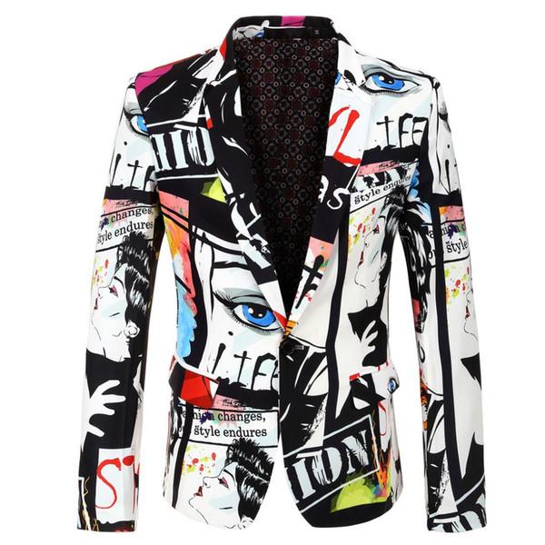 Brand New 2019 Tide Мужская мода печати Blazer Design Plus Размер Hip Горячая Casual Male Slim Fit Костюм куртка Singer Костюм