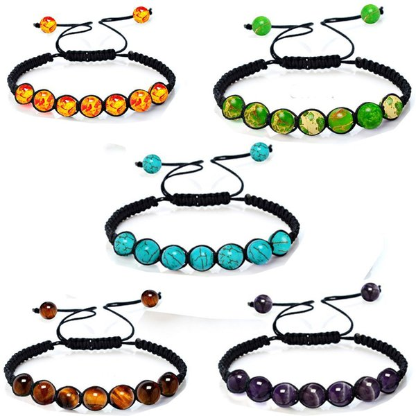 New Arrival Tiger Eye Beads Bracelet for Men Women Adjustable Size 10mm Lava Stone Black Beads Braided Bracelet Jewelry Gift