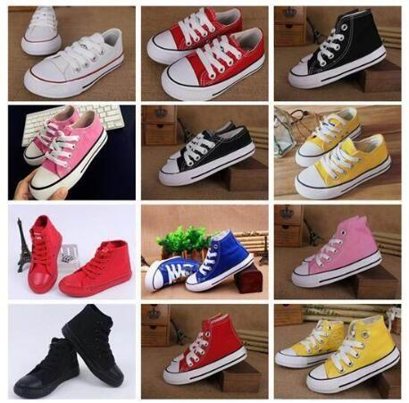 top popular 2019 New brand kids canvas shoes fashion high - low shoes boys and girls sports canvas children classic designer shoes 2021