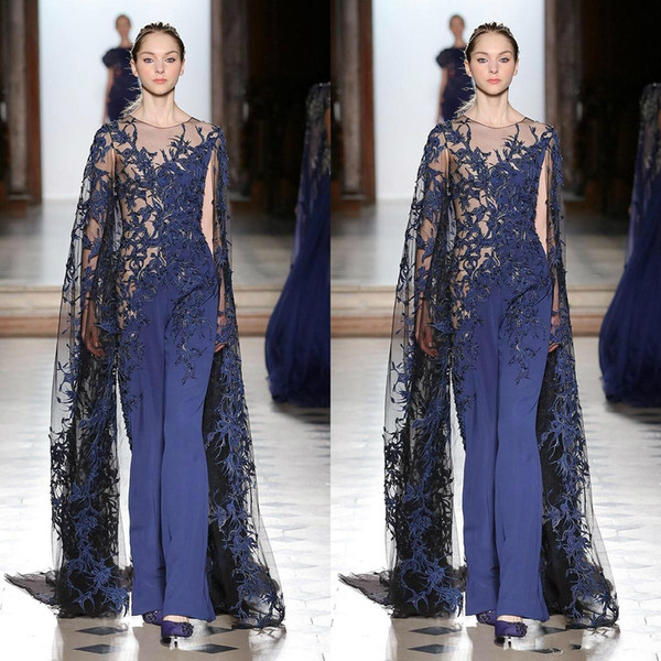 Tony Ward Jumpsuits Prom Dresses With Cap Royal Blue Lace Appliqued Beads Long Sleeve Formal Evening Gowns Elegant Pantsuit Party Dress