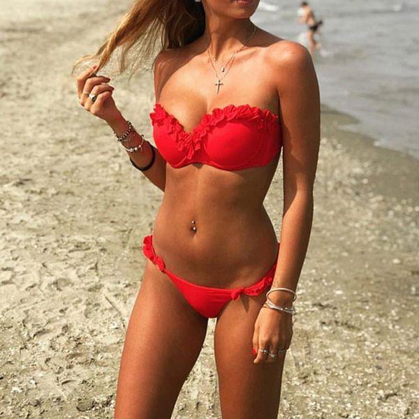 4746729fada2d Summer Sexy Off Shoulder Bikini Swimwear Women Push Up Bikinis Set  Brazilian Swimsuit Bathing Suit Beach