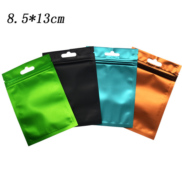 8.5*13cm Matte Clear Plastic Front Zip Lock Aluminum Foil Packing Bags Resealable Zipper Top Colored Mylar Translucent Grocery Package Bag
