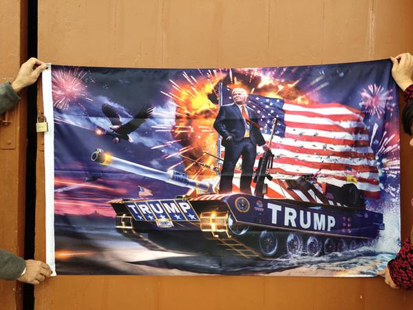 Nouveau Donald Trump Drapeau 150 * 90cm Impression Numérique Trump Tank Donald 2020 Keep America Grand Drapeau Bannière