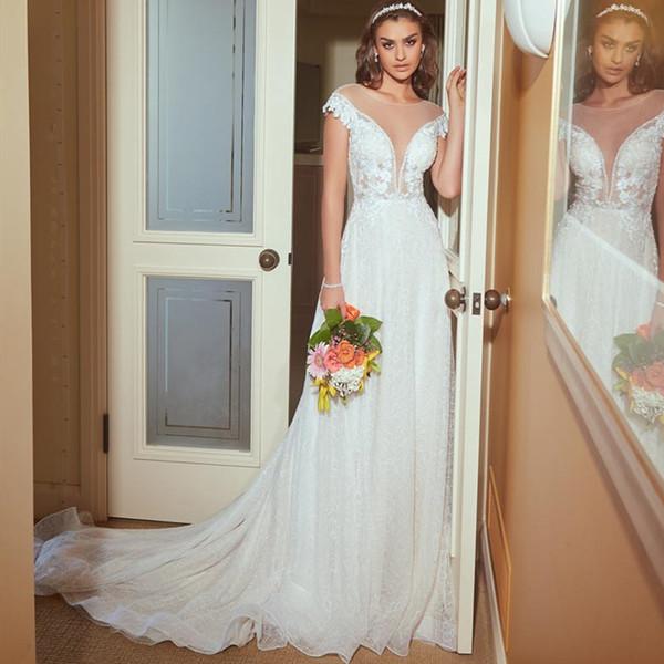 Robes de mariée bohème 2019 une ligne illusion décolleté robe de mariée courte à manches courtes en dentelle robe de plage robes de mariée robe de mariée