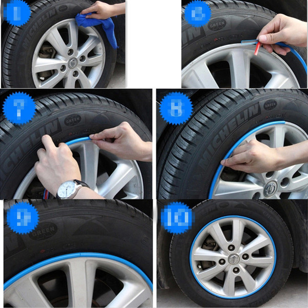Hot Sale 8M/Roll Car Wheel Hub Tire Sticker for dacia 3 e32 kia sportage mitsubishi outlander seat leon Accessories