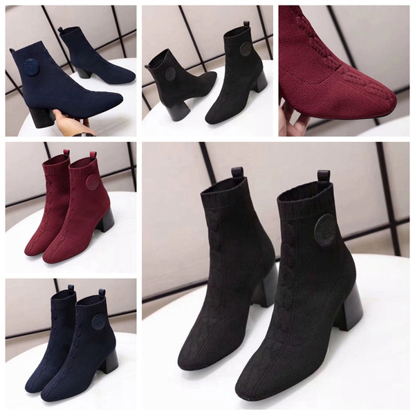 2019 Woman Cashmere Boots Brand Designer Heels Shoes Sock Shoe Superstar Heels Boots Sheepskin Shoes Ladies Sock Shoe Eu:35-39 With box AMS2