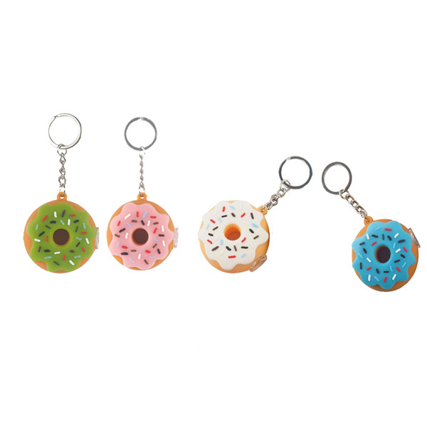 Unbreakable Donut Silicone Tobacco Water Pipe With Glass Bowl And Key Chain Oil Burner Dab Rig Mini Silicone Smoking Water Pipe