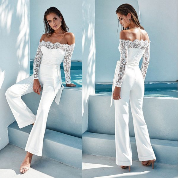 Europe and the United States popular spring and autumn season women fashion white lace stitching word collar butterfly jumpsuit big horn pan