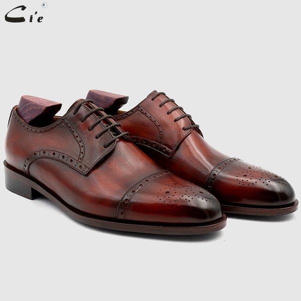 cie Bespoke Custom Handmade Full Grain Genuine Calf Leather Blake Stitch Breathable Lacing Men's Derby shoe Patina Brown No.DE03 #36980
