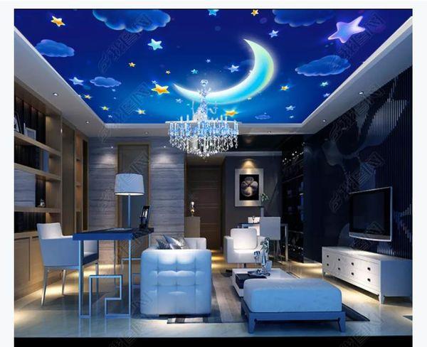 3D zenith mural custom photo ceiling wallpaper Fantasy cartoon starry sky white clouds bedroom living room zenith ceiling mural decoration