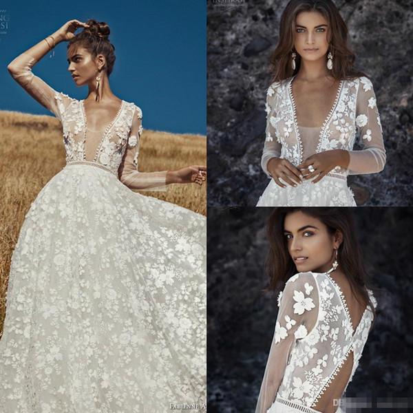 Vintage 2019 Lace Wedding Dresses Sheer V Neck 3D Appliqued Long Sleeve Wedding Dress Plus Size New Designer Bridal Gowns Vestidos De Noiva