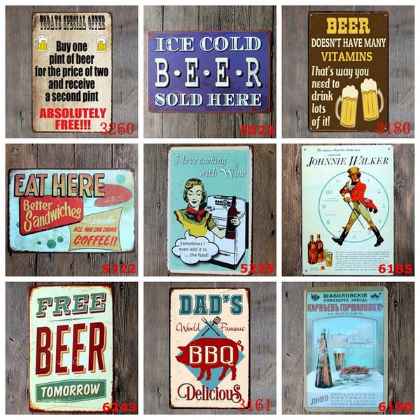 Segni di metallo barbecue Tin poster Retro Bar Wall Art pittura Steak House decorativi Plaque Home Decor 40 disegni opzionale CYL-YW3953