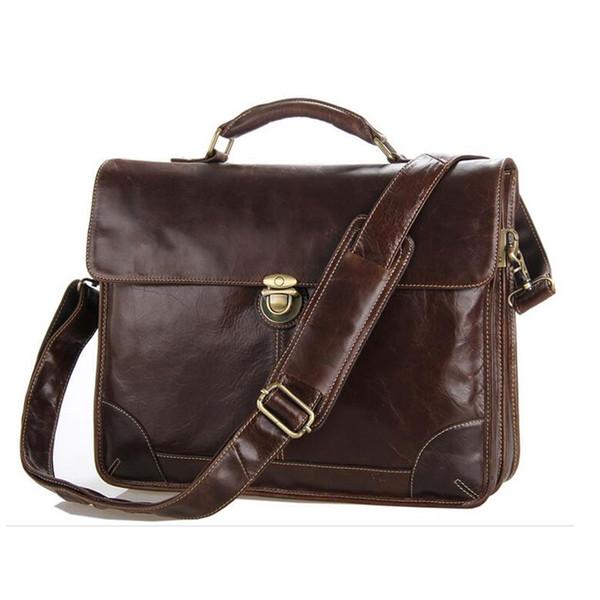 Men's Natural Cow Genuine Leather Briefcase Handbags Coffee Business Laptop Bags Shoulder Messenger Bags Computer Bag Brief Case #263511
