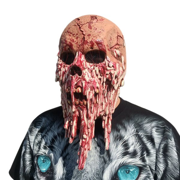 Hot New!!!!Super Horror Bloody Zombie Mask Melting Face Adult Latex Costume Walking Dead Halloween Scary 1A7 Drop Shipping